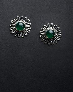 Silver Ananya ES 2041 Onyx Stud Earrings