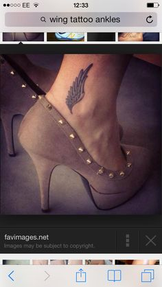 """Love this tattoo!! Symbolizes me getting fit, losing weight, running 10k and a 1/2 marathon (to come). Also it's the symbol of Hermes who is referred to as luck-bringer and giver of grace. Lastly one if my favorite """"mummy"""" sayings is """" give them roots and wing"""", being on my foot (root) it's apt. Hermes is the god of eloquence, commerce, cunning, music, the art of fighting, god of the road, the protector of travelers, the giver of wealth and luck, patron of athletics and gymnastic games,"""