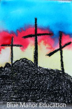 Bible story art for kids including water color crosses and a baby Moses scene