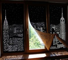 A Ukrainian blind company called HoleRoll shared this fun set of concept blinds that feature iconic cityscapes cut into blackout curtains. The silhouettes of famous skyscrapers become apparent as light streams in through the window. The images were posted back in 2014 and it looks like their website