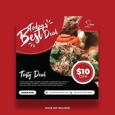 Delicious Food Promotion Red and Black Template Graphic Design Flyer, Flyer Design, Delicious Food, Tasty, Company Letterhead, Food Promotion, Social Media Banner, Lorem Ipsum, Advertising