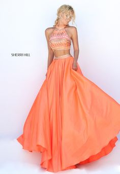 Prom dresses Two Piece Sherri Hill 50310 Halter Embellished Orange Beaded Prom Dress 2016 Sherri Hill Prom Dresses, Prom Dresses 2016, Grad Dresses, Dance Dresses, Formal Dresses, Prom 2016, Quinceanera Dresses, Orange Homecoming Dresses, Orange Prom Dresses