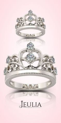 Crown Created White Sapphire Rhodium Plated 925 Sterling Silver Women's Ring #Jeulia
