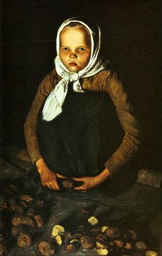 Hugo Simberg - The Potato Girl, 1901 Hugo Gerhard Simberg June 1873 - 12 July was a Finnish symbolist painter and graphic artist. Scandinavian Paintings, Potato Girl, Collaborative Art, Old Master, Figure Painting, Painting Art, Portrait Art, Figurative Art, All Art