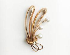 Vintage Modernist Kultaseppä salovaara 585 Gold & Pearls brooch from Finland made in 1967