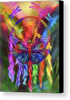 Rainbow Dragonfly Dream Catcher fine art canvas print featuring the art of Carol Cavvalaris.