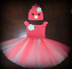 Crochet Easter Chick Baby Tulle Tutu Dress & Matching Hat Photo Prop Custom Made Boy Girl Costume