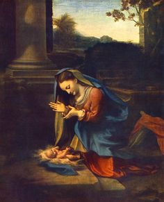 Correggio - Adoration of the Child, 1518-1520, oil on canvas`