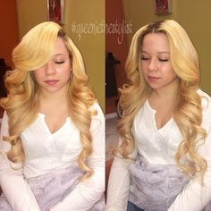 // sunnykelss Sew In Hairstyles, Braided Hairstyles, Blonde White Girl, White Girls, White Girl Weave, Layered Curls, Bombshell Hair, Hype Hair, Blonde Moments