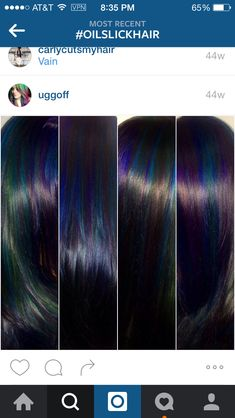 The second column Oil Slick Hair Color, Cool Hair Color, Hair Colors, Good Hair Day, Great Hair, Amazing Hair, Unnatural Hair Color, Natural Hair Styles, Short Hair Styles