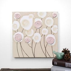 Girl Nursery Art Decor - Textured Flower Painting - Pink and Brown Art on Canvas - Small 10x10 by Amborela on Etsy https://www.etsy.com/listing/86207573/girl-nursery-art-decor-textured-flower