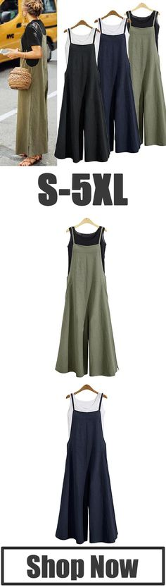 56% off NOW! Casual Loose Solid Tank Jumpsuit