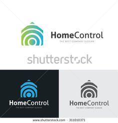 Home Control,home logo,house logo,wifi,internet,home services,home computer,planing,technology,application logo,Vector Logo Template. - stock vector
