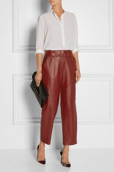 Adam Lippes | cropped leather straight-leg pants