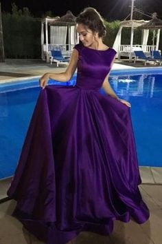 Ball Gown V-Neck Sweep Train Satin Sleeveless Backless Prom Dress-Pgmdress #eveningdresses