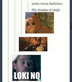 Loki ~ 50 Shades of Neigh (Because Loki in Norse mythology turned into a mare, had sex with a stallion, and gave birth to Sleipnir).Eheheheh :)