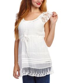 Look at this Simply Irresistible Ivory Lace Empire-Waist Top on #zulily today!