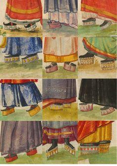 A collage of chopines from Das Trachtenbuch Weiditz des Christoph von seinen Reisen nach Spanien (1529) und den Niederlanden (1531-1532)