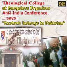 """3ksharesWhen traitors are unable to win real wars, they are trying to invoke proxy wars in the country. The dirty anti-National disease of JNU reached Bangalore yesterday. The United Theological College at Bangalore had invited a foreign NGO called Amnesty International to deliver talk on """"Broken Families of Kashmir"""" on Saturday night, August 13th. The …"""