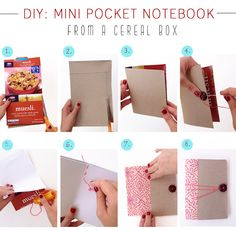 I love DIY notebooks!  DIY: Mini Notebook From A Cereal Box
