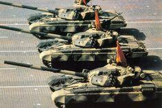 Soviet T-72B tanks on parade.