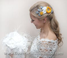 Yellow Gray and White Flower Comb Bridal by Flowerartstudio