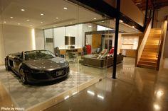 Amazing Car Showroom Design with Living Room: Luxury Garage Glass Door Sport Car The Car Cave Garage Renovation, Garage Interior, Garage Remodel, Garage Makeover, Lofts, Garage Design, House Design, Ultimate Garage, Man Cave Garage