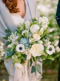 green and shade of blue spring wedding bouquets/ serenity blue and green rustic chic spring wedding bouquets