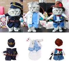 Funny Fashion Pet Dog Cat Clothes Costume Dress Doctor Policeman Cowboy Suit Outfit Cotton Apparel S M L #Affiliate