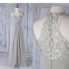 2017 Gray Chiffon Bridesmaid Dress Halter Straps V Neck