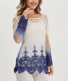 Another great find on #zulily! Blue & White Crochet Scoop Neck Tunic by Simply Couture #zulilyfinds