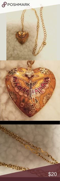 "Delicate Cloisonné Golden Heart Necklace Lovely golden cloisonné heart pendant.  The heart has shades of red and green  with a small flower charm where it meets the chain.  The pendant is 9"" from tip of heart to clasp, with a 2-1/2""chain extension.  Beautiful! Jewelry Necklaces"