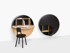 Pill cabinet or desk by Emko a round innovative wall mounted desk, available in different colors Bureau Design, Bar Design, Wall Mounted Desk, Wall Desk, Secretary Desks, Kid Table, Contemporary Interior Design, Space Saving, Home And Living