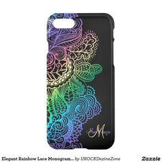 Elegant Rainbow Lace Monogram Black #iPhone 7 Case  #zazzle