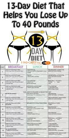 13 Day Diet That Helps You Lose Up To 40 Pounds, Amazing Results....