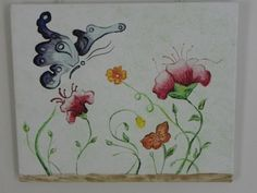 this is abstract painting of flowers and a butterfly