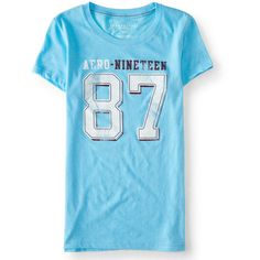 Aero-Nineteen 87 Graphic T ($6.87) ❤ liked on Polyvore featuring tops, t-shirts, icy blue, destroyed tee, slim fit tees, ripped tee, aeropostale t shirts and distressed tees