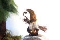 Little Bearded Woodland Gnome miniature needle felt by woolcrazy #etsy #gnome #woodland #miniatures