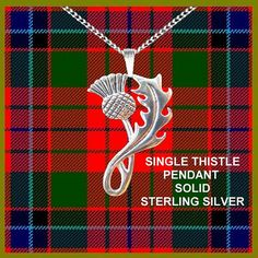 Single Thistle Pendant, Scottish Necklace