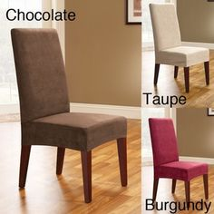 @Overstock - Slipcovers make your dining room chairs look different and brand new  Covers fit most armless dining room chairs up to 42 inches high  Slipcovers feature the elegance and sophistication of suede without the hasslehttp://www.overstock.com/Home-Garden/Smooth-Suede-Shorty-Dining-Room-Chair-Covers-Set-of-2/3482046/product.html?CID=214117 $20.49