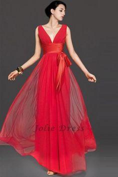 A-Line Floor-Length V-Neck Chiffon Prom Dress