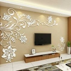 Cheap room decoration, Buy Quality acrylic wall sticker directly from China wall sticker Suppliers: Acrylic wall stickers Wonderful TV Background Decoration Flowers Acrylic Wall Sticker Best Home Decor living room decoration Wall Stickers Vines, Wall Decals, Wallpaper Stickers, Decals For Walls, Wallpaper For Home Wall, Mirror Stickers, Bedroom Wallpaper, Diy Stickers, Window Decals