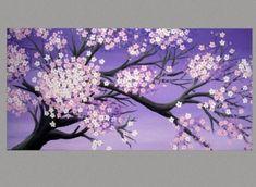 Original Painting Cherry Blossom Painting Sakura Painting Art by Susie Tiborcz3 Sakura Painting, Painting Art, Cherry Blossom Watercolor, Cherry Blossoms, Purple Art, Original Paintings, Moose Art, Birds, Interior Design