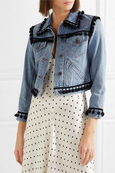 Wear your next-level denim jacket exactly as you would a classic style — but with a lot more impact. Fashion Fabric, Denim Fashion, Denim Outfit, Jean Outfits, Diy Clothes, Couture, Classic Style, Denim Jackets, Jean Jackets