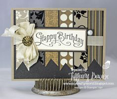"Mocha Morning Specialty DSP, Crumb Cake & Very Vanilla Card Stock, Basic Black Textured Card Stock, Very Vanilla 1/2"" Seam Binding Ribbon, Antique Brads, Vanilla Shimmer Smooch Spritz, Large Basic Pearls and the Perfectly Penned Stamp Set."
