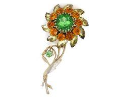 Vintage JUDY LEE Floer Rhinestone Brooch Pin Big Orange Perido Green Glass Stones Gold Metal Designer Signed #vintage #teamlove