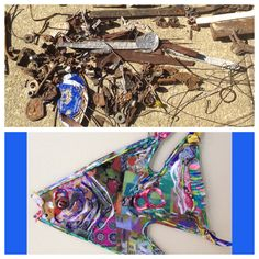 From yesterday's trash to today's art. Up cycle and find a creative reuse. Foam board, coat hangers, bottle caps, pull tabs, wire, nuts, bolts, nails and metal can all be reborn into something artistic. Think #recycle and be #green! #fish #upcycle