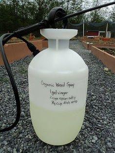 Weed killer: 1 gallon vinegar, 2 cups epsom salt, 1/4 cup dish soap