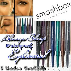 """""""Smashbox"""" Always Sharp Waterproof Eyeliners BN! Smashbox Always Sharp Eyeliners  5 colors available: Raven (black), Royal (purple), Sumatra (brown), 3D Cleopatra (Gold), & 3D Blueprint (teal blue)  Waterproof formula- Stays All Day  Full Sizes!  BRAND NEW-NEVER USED  Please choose which color/colors you want & let me know. I will make a new listing for you! Please do not buy this listing. Thank you :)  I will discount slightly for bundles & all orders get a goody bag!  No trades Smashbox…"""
