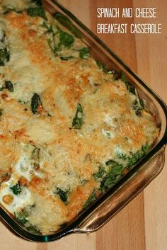 Spinach and Cheese Breakfast Casserole ~ Confident Cook, Hesitant Baker Breakfast Dishes, Breakfast Casserole, Breakfast Recipes, Breakfast Ideas, Hashbrown Breakfast, Brunch Dishes, Vegetarian Breakfast, Brunch Ideas, Eat Breakfast